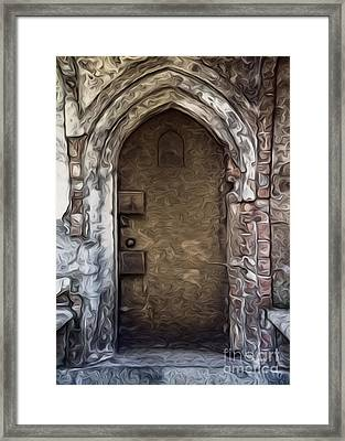 Framed Print featuring the painting Mountain View Cemetery Tomb - Number 1 by Gregory Dyer