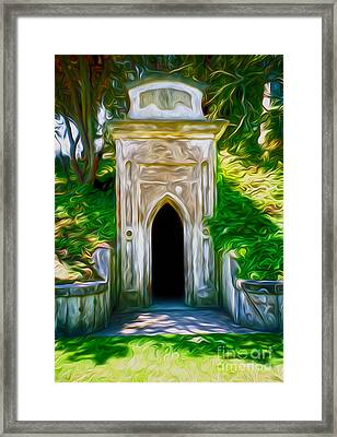 Framed Print featuring the painting Mountain View Cemetery Tomb - Number 4 by Gregory Dyer