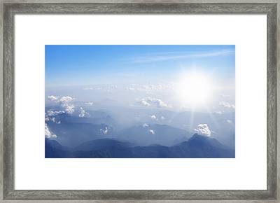 Mountain With Blue Sky And Clouds Framed Print