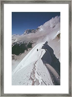 Mountaineer At 20,000 On North Ridge Framed Print by Gordon Wiltsie