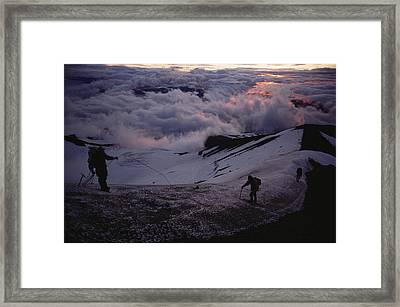 Mountaineers Cross A Snow Crusted Ridge Framed Print by Sam Abell