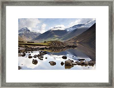 Mountains And Lake At Lake District Framed Print