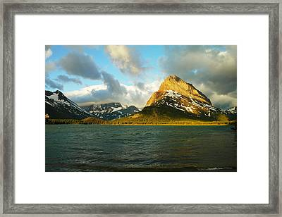 Mountains At Many Glacier Framed Print by Jeff Swan