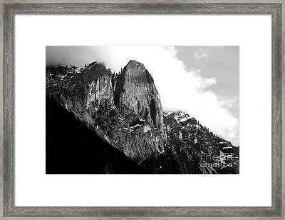 Mountains Of Yosemite . 7d6167 . Black And White Framed Print