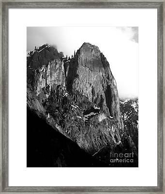 Mountains Of Yosemite . 7d6167 . Vertical Cut . Black And White Framed Print