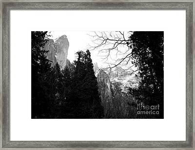 Mountains Of Yosemite . 7d6213 . Black And White Framed Print by Wingsdomain Art and Photography