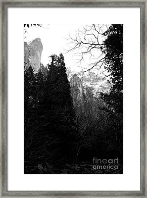 Mountains Of Yosemite . 7d6214 . Black And White Framed Print