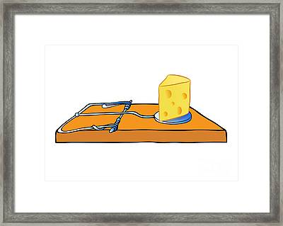 Mousetrap With Cheese - Trap Framed Print