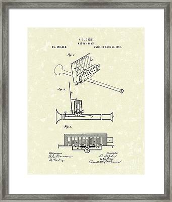 Mouth Organ 1876 Patent Art Framed Print by Prior Art Design
