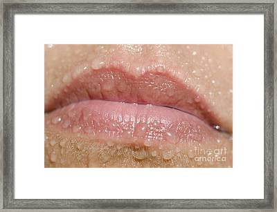 Mouth With Water Drops Framed Print