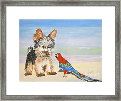 Mouthy Parrot Framed Print by Phyllis Kaltenbach
