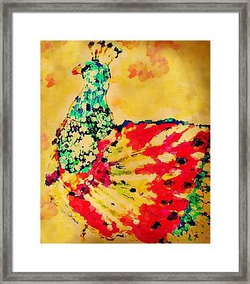 Mprints - Pretty  Peacock Framed Print