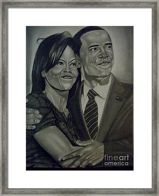 Mr. And Mrs. Obama Framed Print by Handy