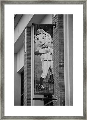 Mr Met In Black And White Framed Print