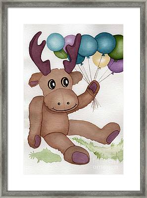 Mr Moose With Balloons Framed Print by Vikki Wicks