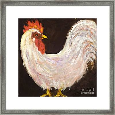Mr. White Rooster Framed Print
