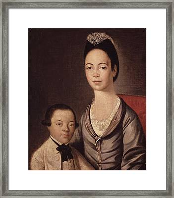 Mrs. Aaron Lopez And Her Son Joshua Framed Print by  Gilbert Stuart