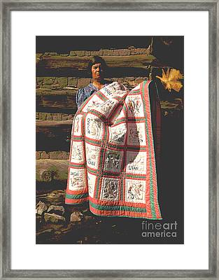 Mrs. Bill Stagg With State Quilt Framed Print
