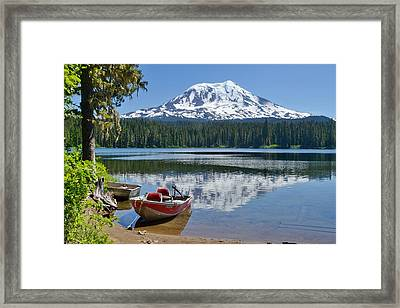 Mt Adams At The Lake Framed Print by Ansel Price