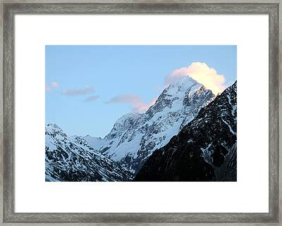 Framed Print featuring the photograph Mt. Cook With Sunlit Clouds by Laurel Talabere