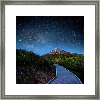 Mt. Ekmond At Night With Starlight Framed Print by Coolbiere Photograph