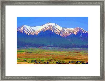 Framed Print featuring the digital art Mt. Princeton Morning by Brian Davis