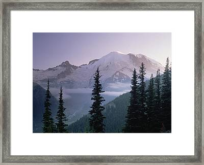 Mt Rainier As Seen At Sunrise Mt Framed Print by Tim Fitzharris