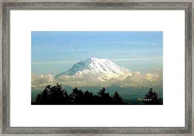 Mt. Rainier In Cloud Blanket Framed Print by Sadie Reneau