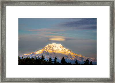 Mt Rainier Sunset With Lenticular Clouds Framed Print by David Patterson