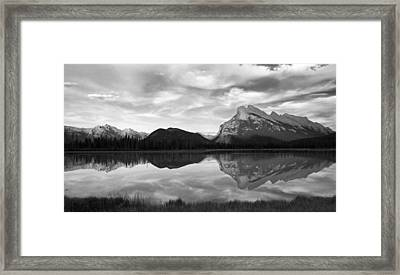 Framed Print featuring the photograph Mt. Rundel Reflection Black And White by Andrew Serff