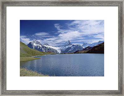 Mt Wetterhorn And Mt Schreckhorn, Alps Framed Print