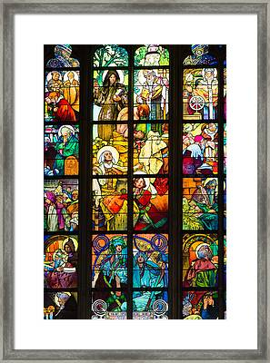 Mucha Window Saint Vitus Cathedral Prague Framed Print