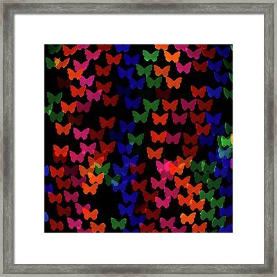 Multi Colored Butterfly Shaped Lights Framed Print by Lotus Carroll