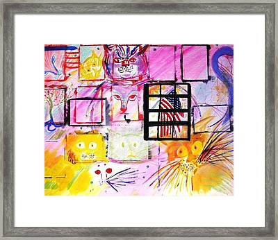 Framed Print featuring the painting Multicat by Leslie Byrne