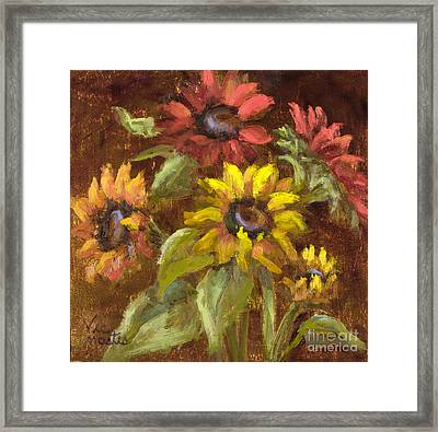 Multicolored Sunflowers With Gold Leaf By Vic Mastis Framed Print by Vic  Mastis