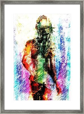 Framed Print featuring the digital art Multicolorwoman by Andrea Barbieri
