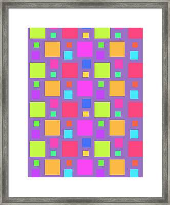 Multicoloured Squares Framed Print by Louisa Knight