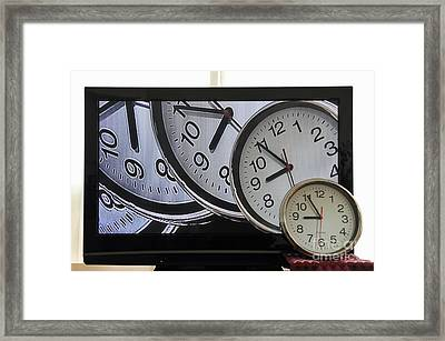 Multiple Clocks On Tv Screen Framed Print by Sami Sarkis