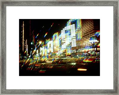 Multiple-exposure Photograph Of Moscow City Lights Framed Print by Ria Novosti