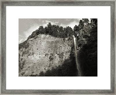 Multnomah Falls Cliff Face Framed Print