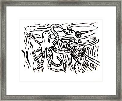 Framed Print featuring the painting Munch On Octopussy A Tribute To Munch With Romantic Octopus Pier Screaming Boats Lake Flower Love by M Zimmerman