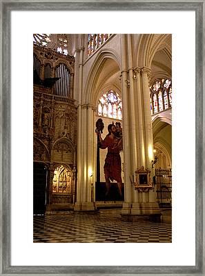 Mural Of Saint Christopher And Baby Jesus Framed Print by Lorraine Devon Wilke