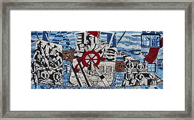 Mural On Wall At Mallaig Harbour In Scotland  Framed Print