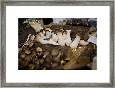 Mushrooms At The Market Framed Print by Heather Applegate