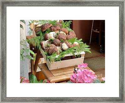 Mushrooms For Sale Italy Framed Print by Laura Ramsey