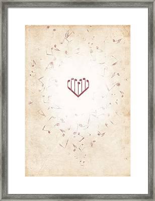 Music Heart Warm Framed Print by Luka Balic
