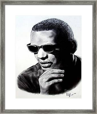 Framed Print featuring the painting Music Legend Ray Charles by Jim Fitzpatrick
