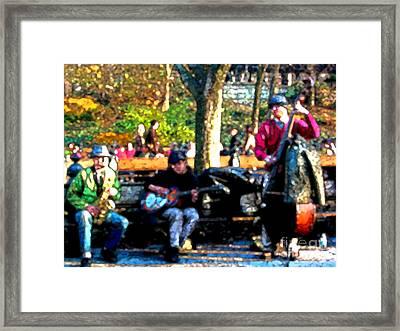 Musicians In Central Park Framed Print by Anne Ferguson