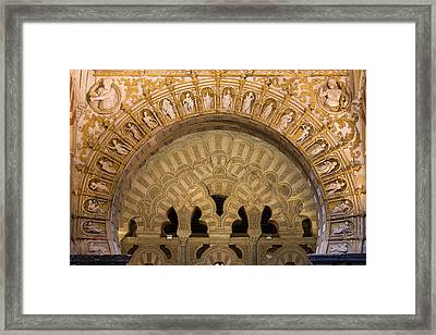 Muslim Arch With Christian Reliefs In Mezquita Framed Print by Artur Bogacki