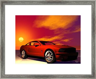 Framed Print featuring the digital art Mustang Gt by John Pangia